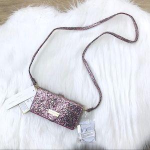 Multi Pink Glitter Crossbody Bag w/ Phone Charger